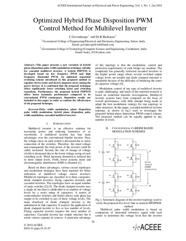 ACEEE International Journal on Electrical and Power Engineering, Vol. 1, No. 1, Jan 2010        Optimized Hybrid Phase Dis...