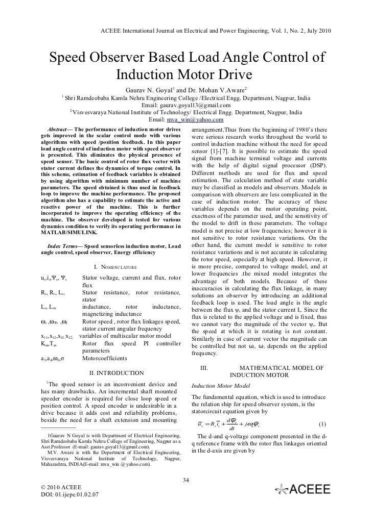 ACEEE International Journal on Electrical and Power Engineering, Vol. 1, No. 2, July 2010      Speed Observer Based Load A...