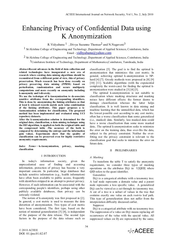 ACEEE International Journal on Network Security, Vol 1, No. 2, July 2010  Enhancing Privacy of Confidential Data using    ...