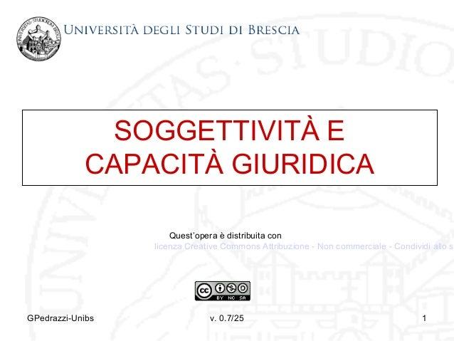 SOGGETTIVITÀ E CAPACITÀ GIURIDICA  Quest'opera è distribuita con licenza Creative Commons Attribuzione - Non commerciale -...