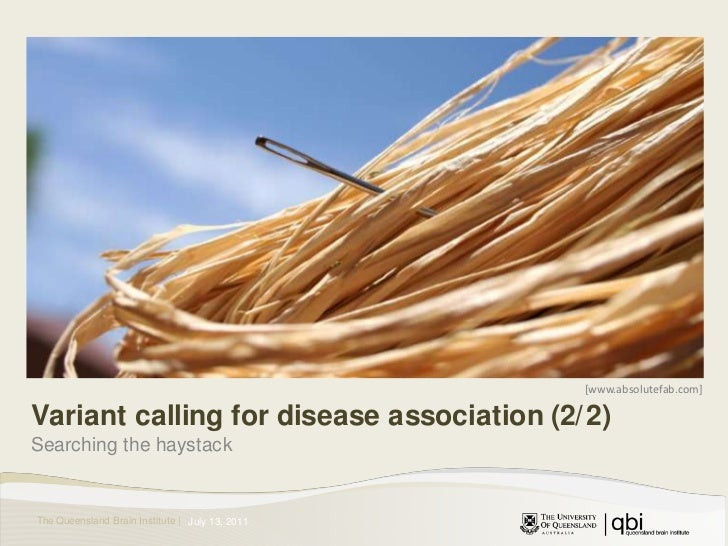 [www.absolutefab.com]<br />Variant calling for disease association (2/2)<br />Searching the haystack<br />July 14, 2011<br />