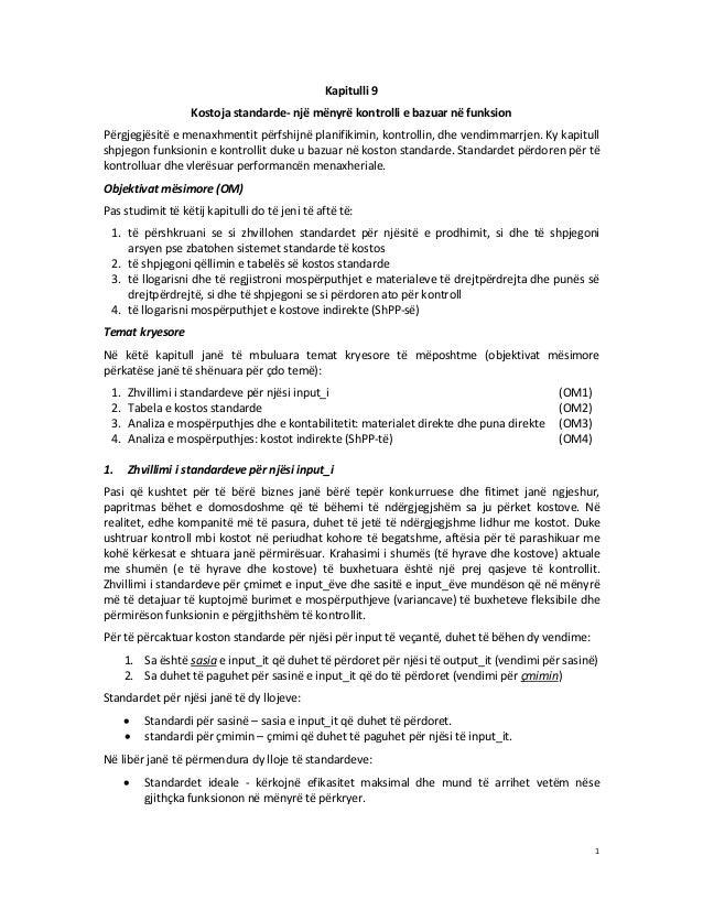 Kapitulli 9 Kostoja standarde- një mënyrë kontrolli e bazuar në funksion Përgjegjësitë e menaxhmentit përfshijnë planifiki...