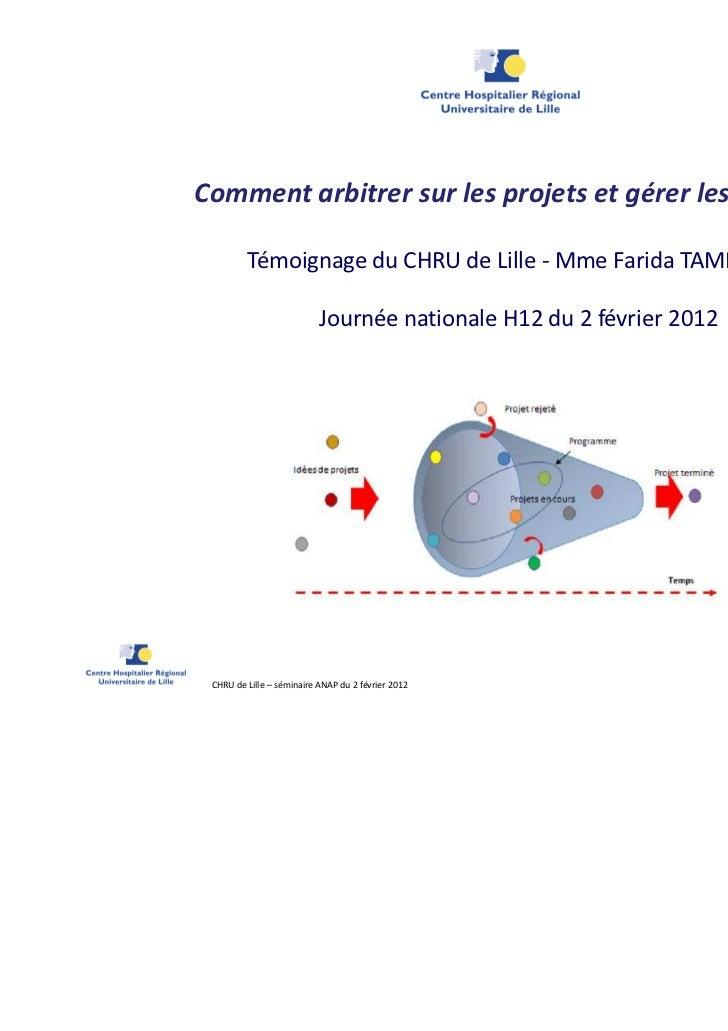 Comment arbitrer sur les projets et gérer les risques ?         Témoignage du CHRU de Lille - Mme Farida TAMRABET         ...
