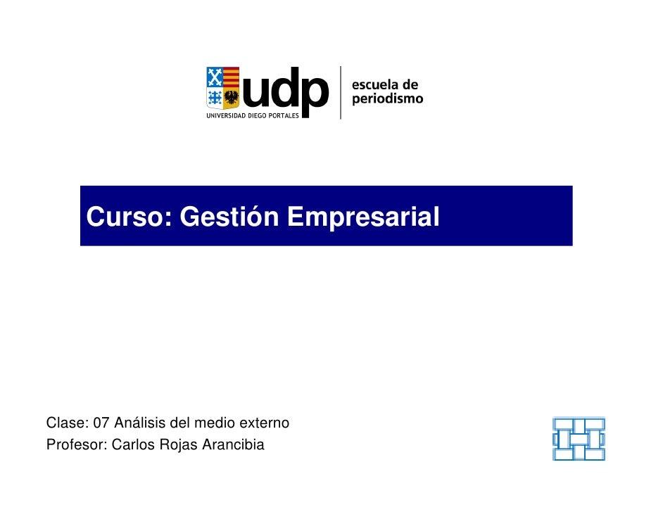 Curso: Gestión Empresarial     Clase: 07 Análisis del medio externo Profesor: Carlos Rojas Arancibia
