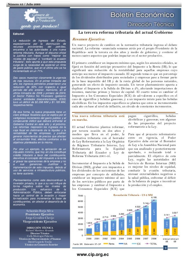 La Tercera Reforma Tributaria del Actual Gobierno - Boletín Económico Julio 2009