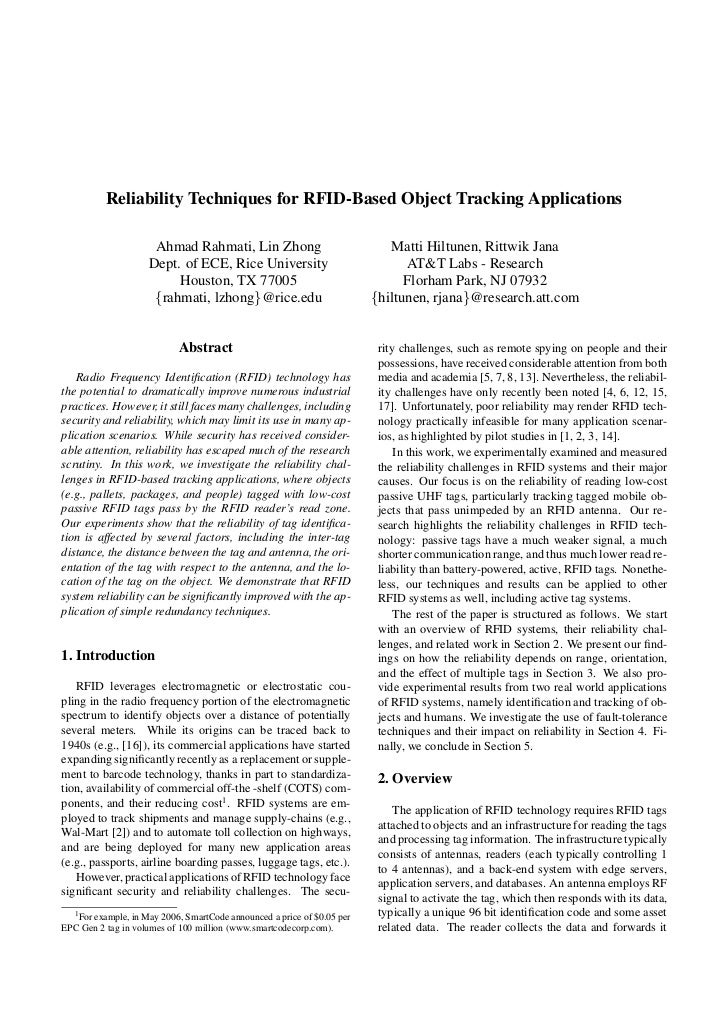 Reliability Techniques for RFID-Based Object Tracking Applications                      Ahmad Rahmati, Lin Zhong          ...
