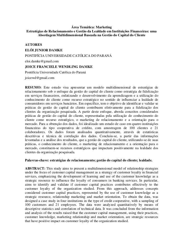Área Temática: Marketing Estratégias de Relacionamento e Gestão da Lealdade em Instituições Financeiras: uma        Aborda...