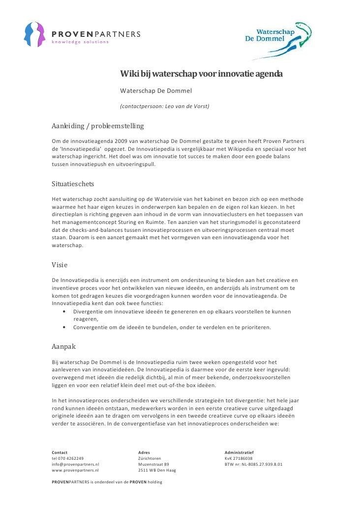 Wiki bij waterschap voor innovatie agenda                               Waterschap De Dommel                              ...