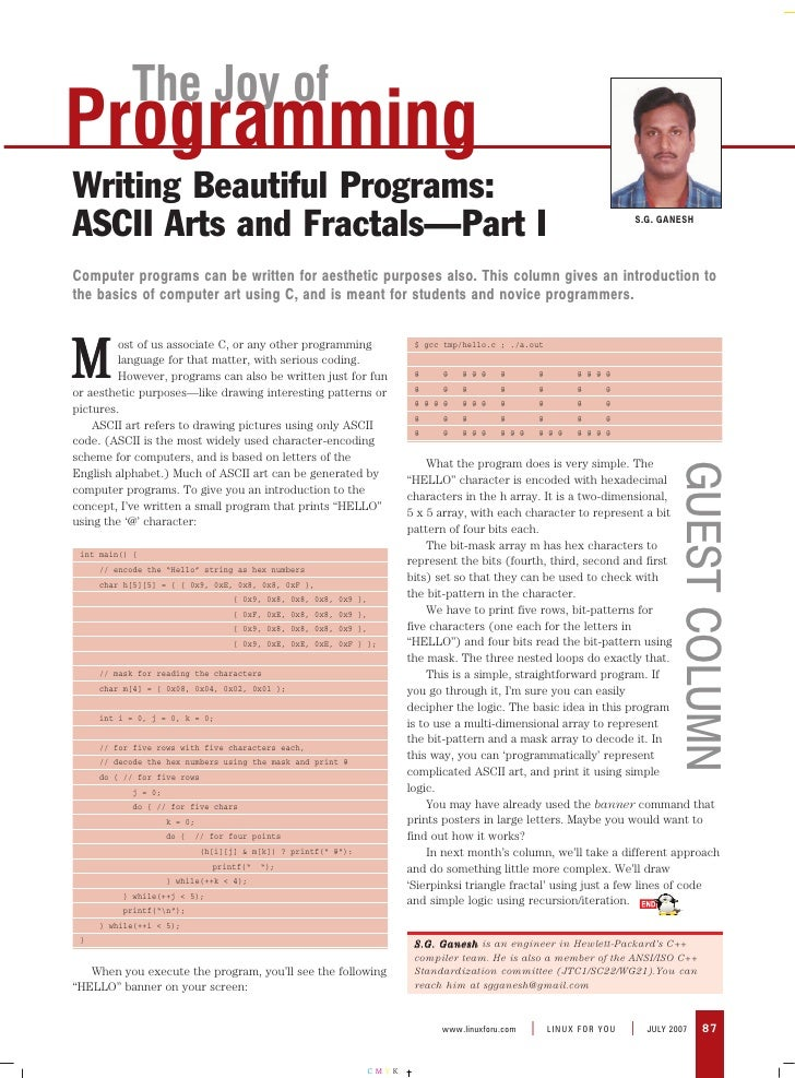 The Joy of Programming Writing Beautiful Programs: ASCII Arts and Fractals—Part I                                         ...