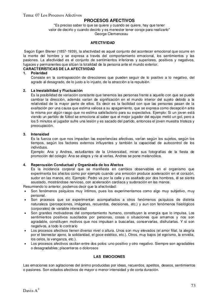"""Tema: 07 Los Procesos Afectivos                                      PROCESOS AFECTIVOS                   """"Es preciso sabe..."""