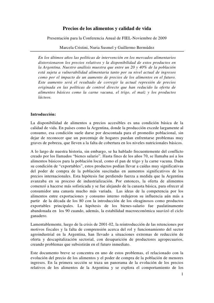 Precios de los alimentos y calidad de vida          Presentación para la Conferencia Anual de FIEL-Noviembre de 2009      ...