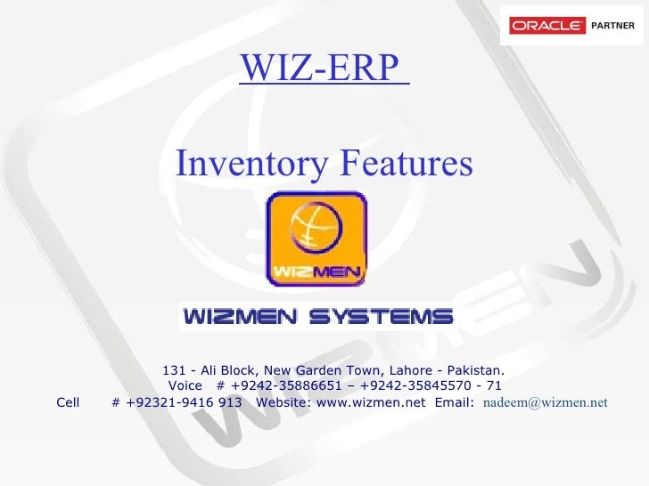 WIZ-ERP  Inventory Features