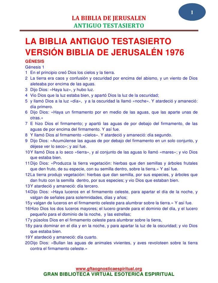 1                        LA BIBLIA DE JERUSALEN                         ANTIGUO TESTASIERTOLA BIBLIA ANTIGUO TESTASIERTOVE...