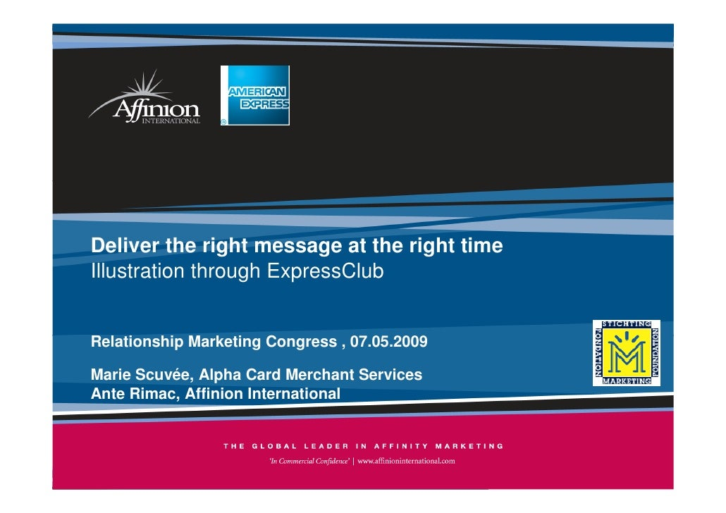 Deliver the right message at the right time Illustration through ExpressClub   Relationship Marketing Congress , 07.05.200...