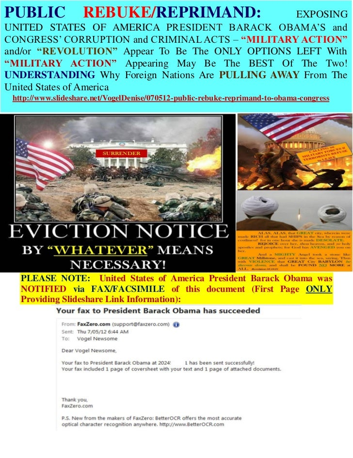07/05/12 PUBLIC REBUKE & REPRIMAND TO PRESIDENT BARACK OBAMA and CONGRESS