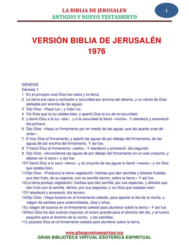 LA BIBLIA DE JERUSALEN                                             1                  ANTIGUO Y NUEVO TESTASIERTO      VER...