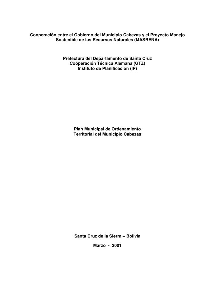 Cooperación entre el Gobierno del Municipio Cabezas y el Proyecto Manejo           Sostenible de los Recursos Naturales (M...
