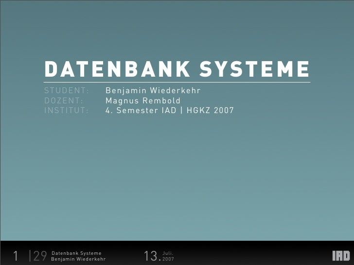 Datenbank Systeme Documentation