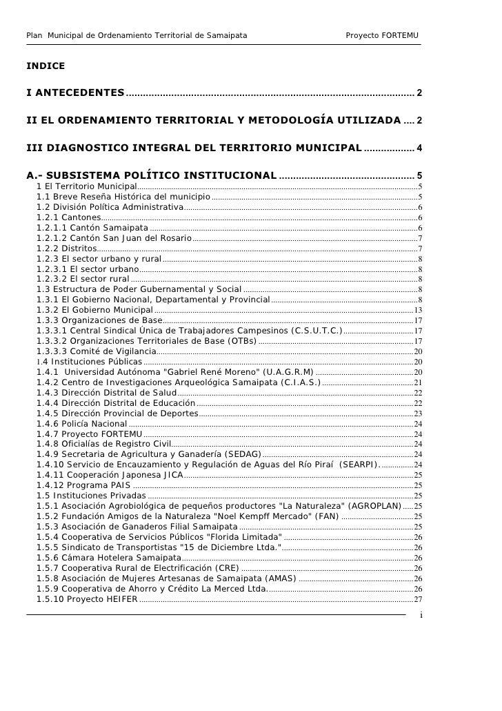 Plan Municipal de Ordenamiento Territorial de Samaipata                                                                   ...