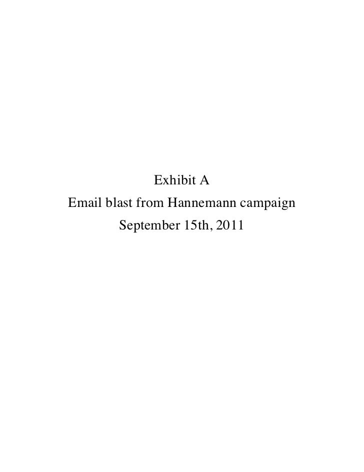 Exhibit AEmail blast from Hannemann campaign       September 15th, 2011