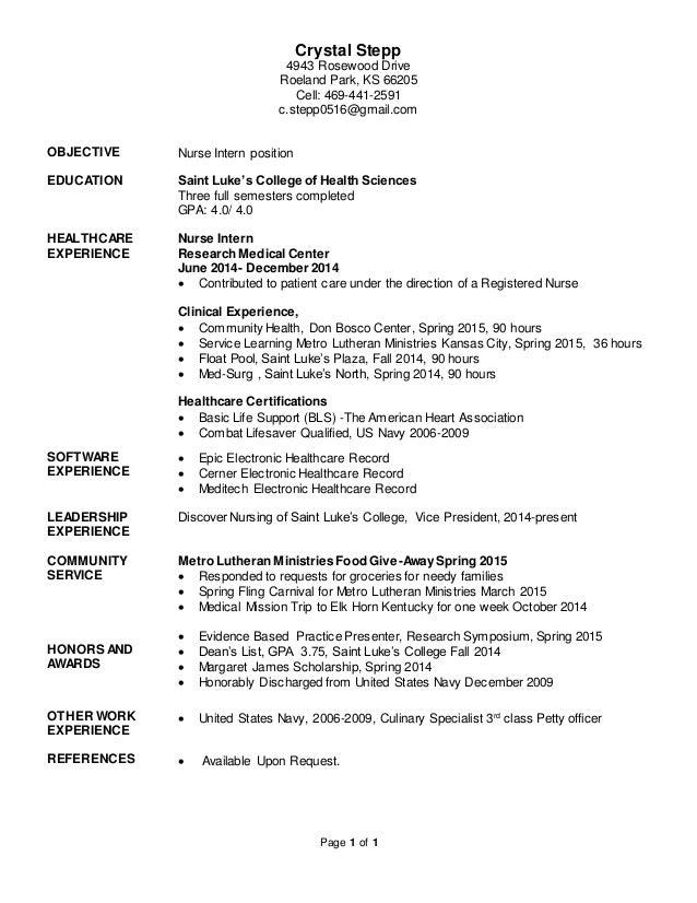 Resume for Crystal Stepp Nurse Intern Pro