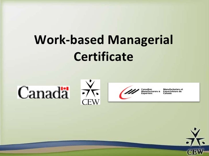 Work-based Managerial Certificate