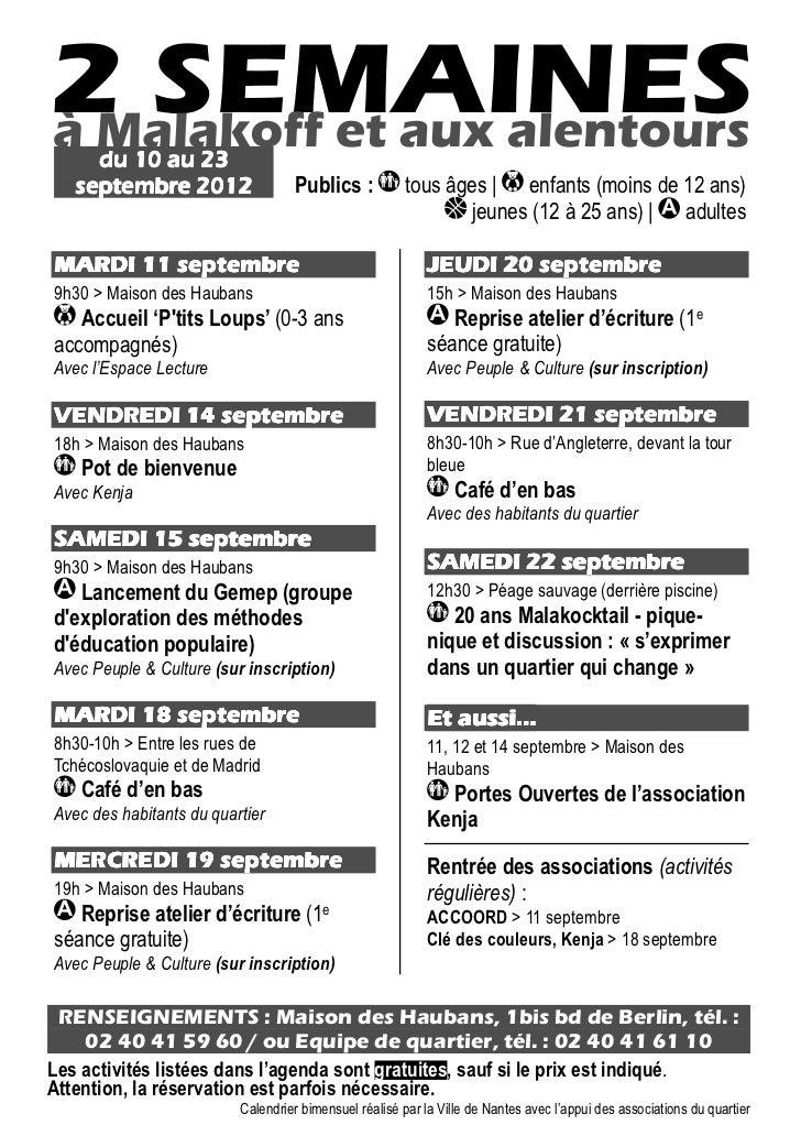 agenda du 10 au 23 septembre 2012
