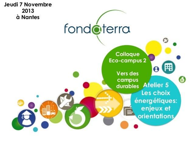 Colloque Eco-campus 2 Vers des campus durables Atelier 5 Les choix énergétiques: enjeux et orientations Jeudi 7 Novembre 2...