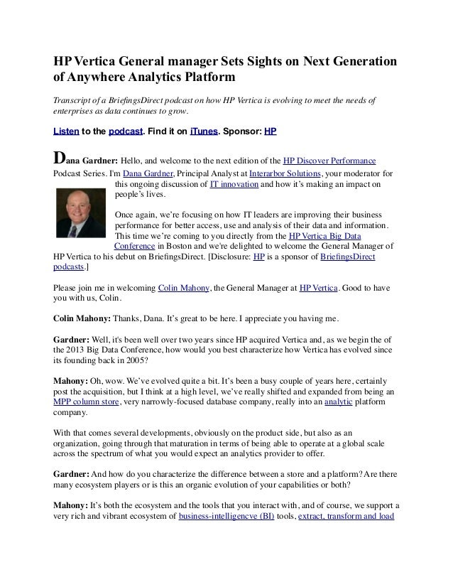 HP Vertica General manager Sets Sights on Next Generation of Anywhere Analytics Platform