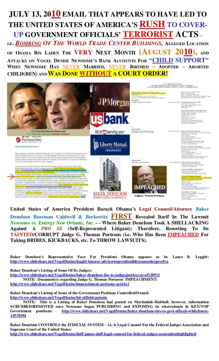 JULY 13, 2010 EMAIL THAT APPEARS TO HAVE LED TOTHE UNITED STATES OF AMERICA'S RUSH TO COVER- UP GOVERNMENT OFFICIALS' TERR...