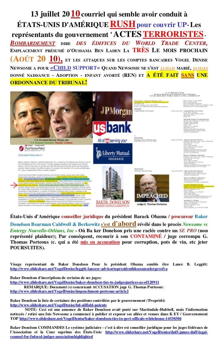 13 juillet 20 10 courriel qui semble avoir conduit à  ÉTATS-UNIS DAMÉRIQUE RUSH pour couvrir UP- Lesreprésentants du gouve...