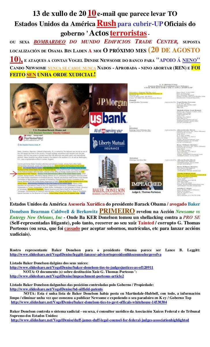 13 de xullo de 20 10 e-mail que parece levar TO    Estados Unidos da América Rush para cubrir-UP Oficiais do              ...