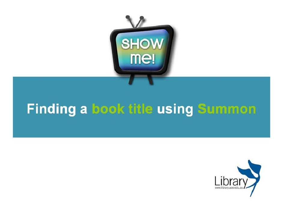 Finding a book title in Summon