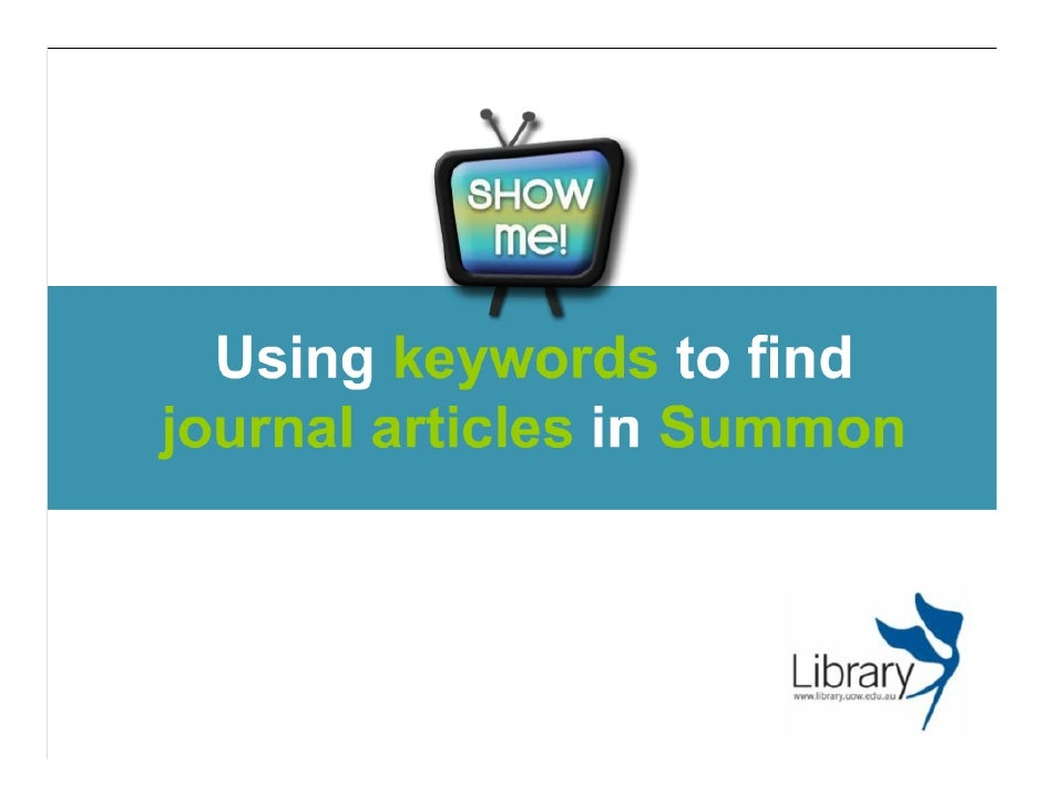 Using keywords to find journal articles in Summon