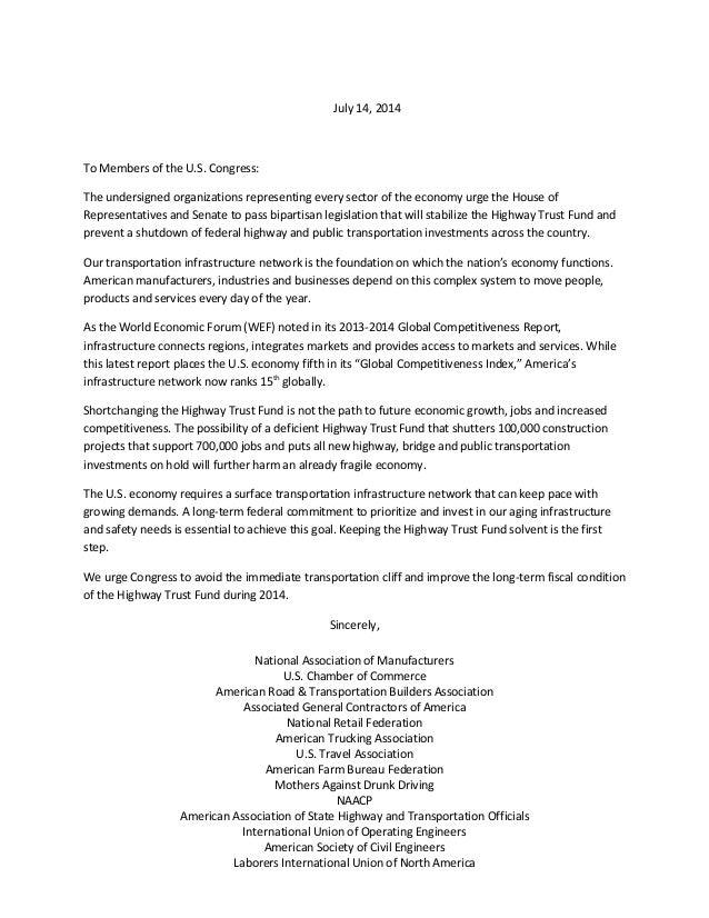 HTF multi industry letter