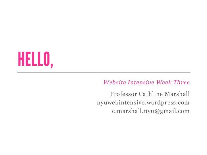 HELLO,           Website Intensive Week Three             Professor Cathline Marshall         nyuwebintensive.wordpress.co...