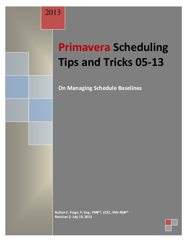 071913 Rufran's Primavera Scheduling Tips & Tricks 05-13