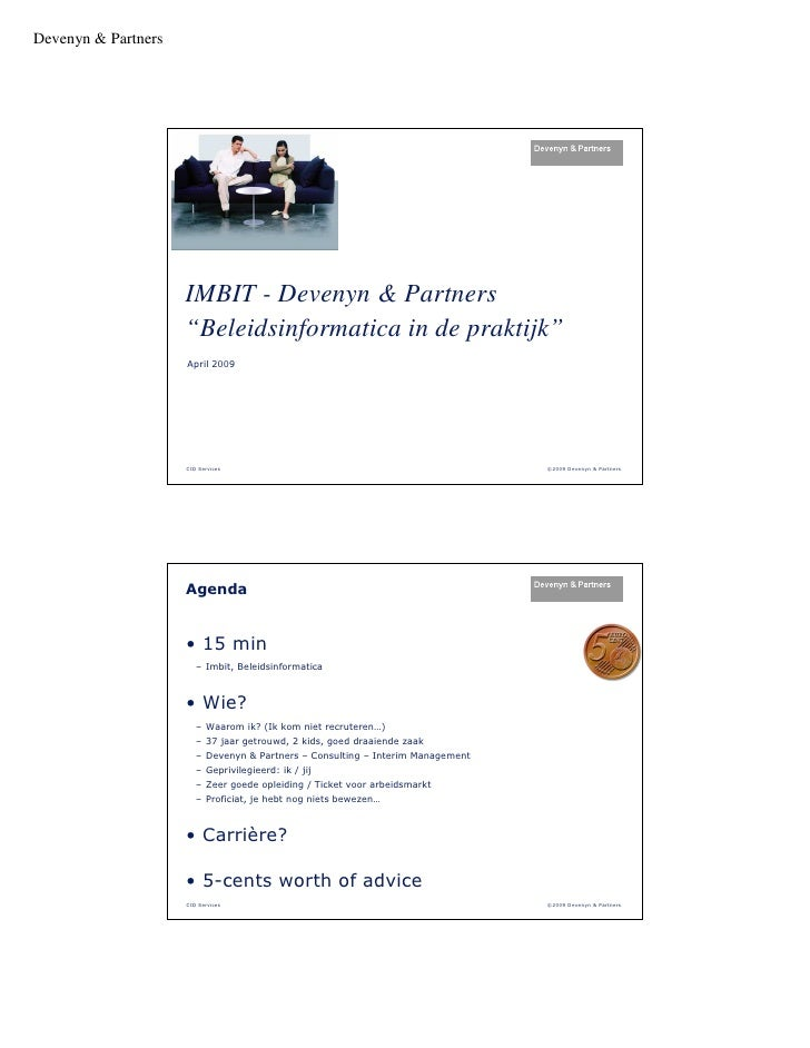 "Devenyn & Partners                     IMBIT - Devenyn & Partners                     ""Beleidsinformatica in de praktijk"" ..."
