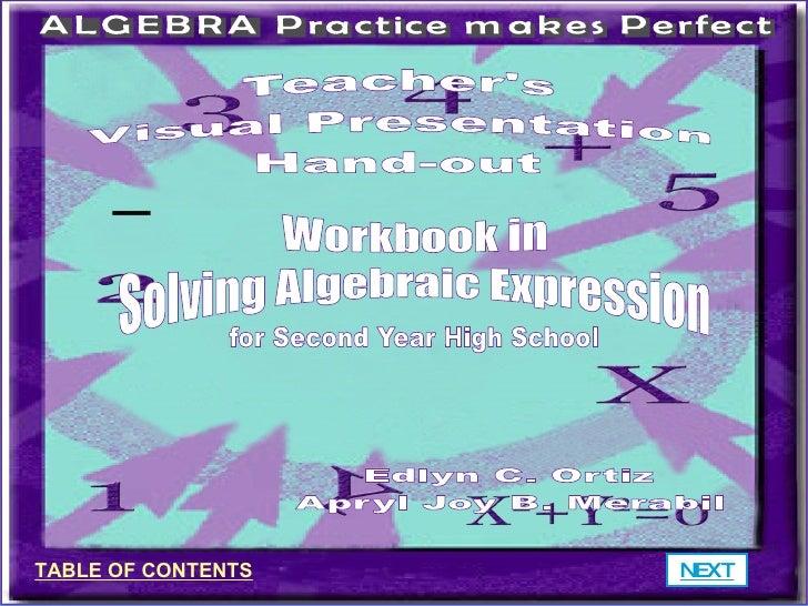 Workbook In Solving Algebraic Expressions
