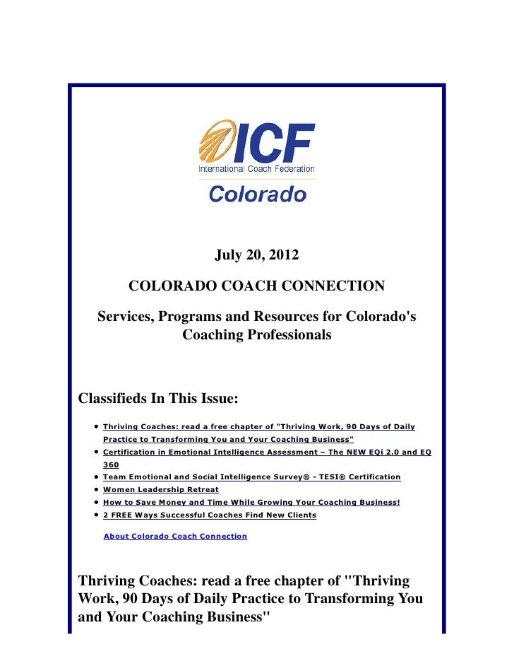 July 20, 2012          COLORADO COACH CONNECTION   Services, Programs and Resources for Colorados                Coaching ...