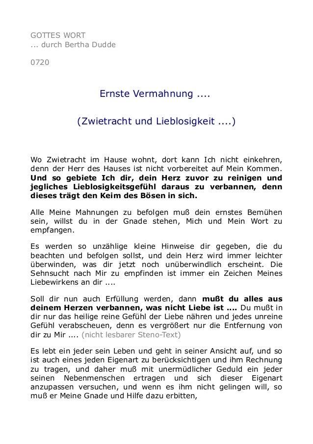 GOTTES WORT ... durch Bertha Dudde 0720 Ernste Vermahnung .... (Zwietracht und Lieblosigkeit ....) Wo Zwietracht im Hause ...