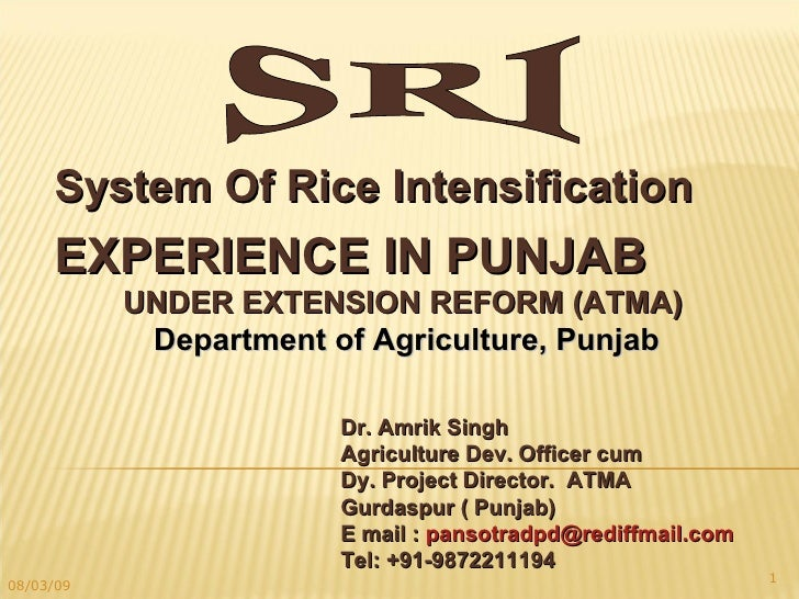 SRI EXPERIENCE IN PUNJAB UNDER EXTENSION REFORM (ATMA) Department of Agriculture, Punjab Dr. Amrik Singh  Agriculture Dev....