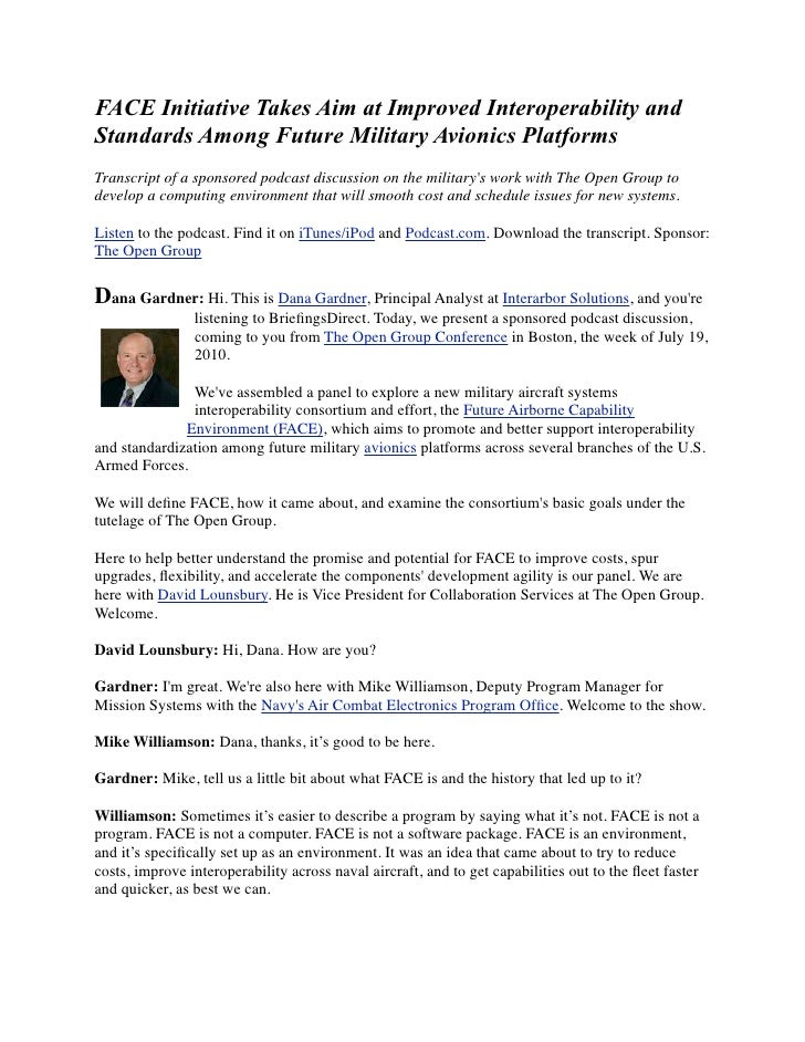 FACE Initiative Takes Aim at Improved Interoperability and Standards Among Future Military Avionics Platforms Transcript o...