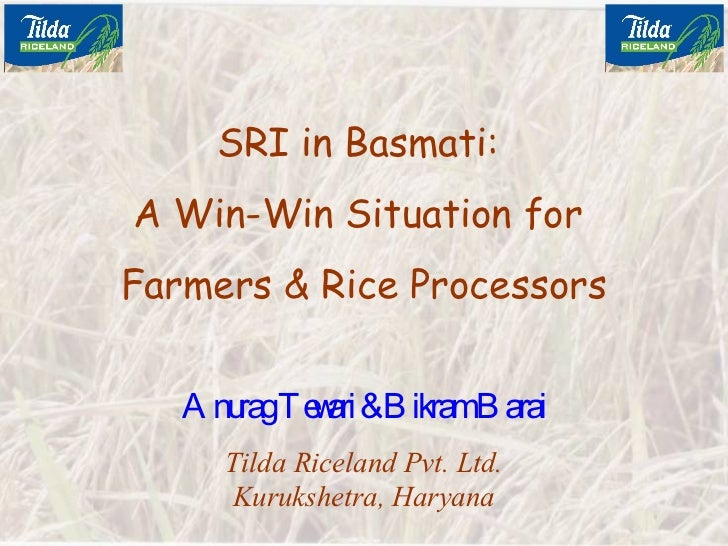 0721 System of Rice Intensification in Basmati: A Win Win Situation for Farmers and Rice Processors