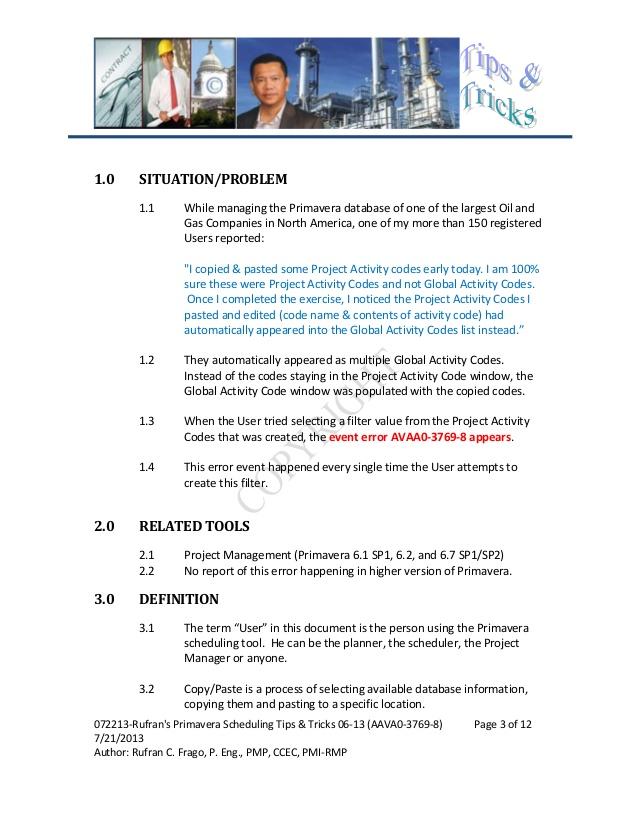 072213 Rufran's Primavera Scheduling Tips & Tricks 06-13 (P6 ...