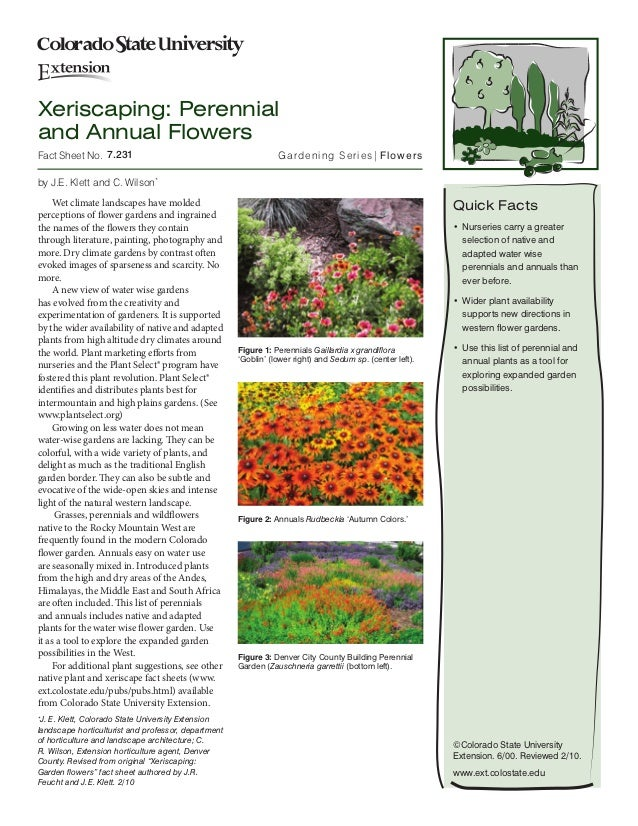 Xeriscaping: Perennialand Annual FlowersFact Sheet No.7.231                                           Gardening Series| ...