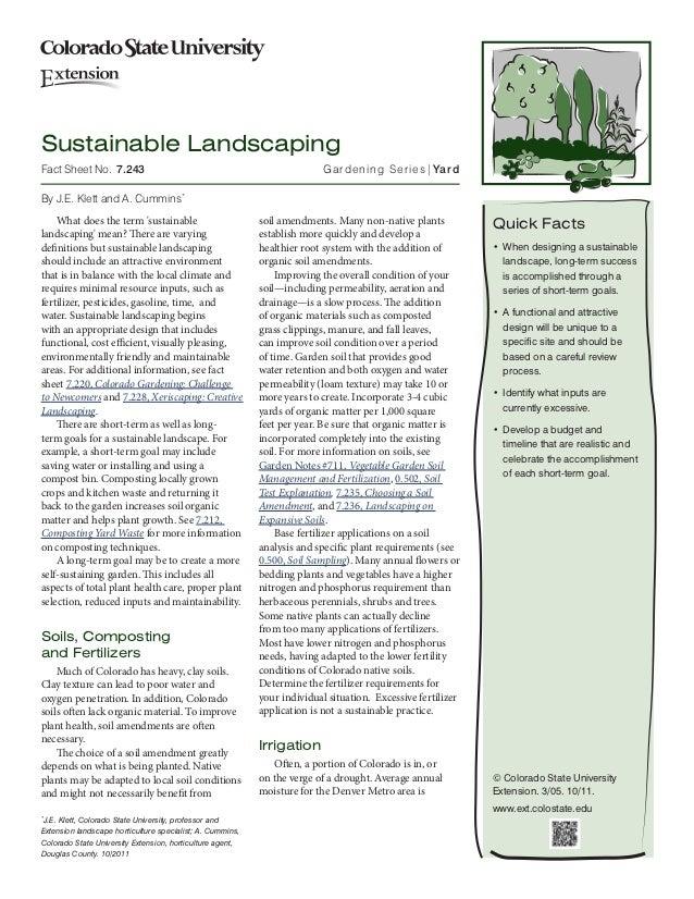 Sustainable LandscapingFact Sheet No. 7.243                                                    Gardening Series| YardBy ...