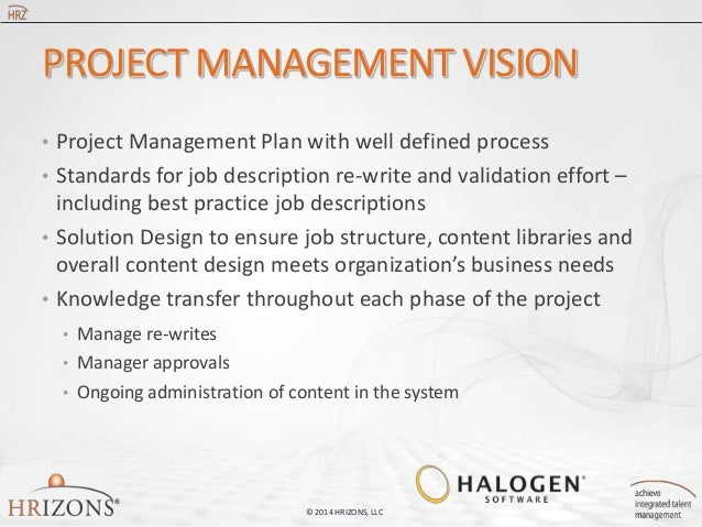 best practices for creating and maintaining job descriptions       project management