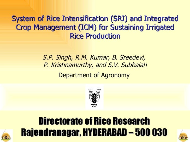 0733 System of Rice Intensification (SRI) and Integrated Crop Management (ICM) for Sustaining Irrigated Rice Production