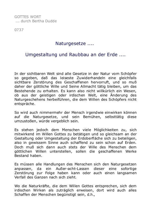 GOTTES WORT ... durch Bertha Dudde 0737 Naturgesetze .... Umgestaltung und Raubbau an der Erde .... In der sichtbaren Welt...